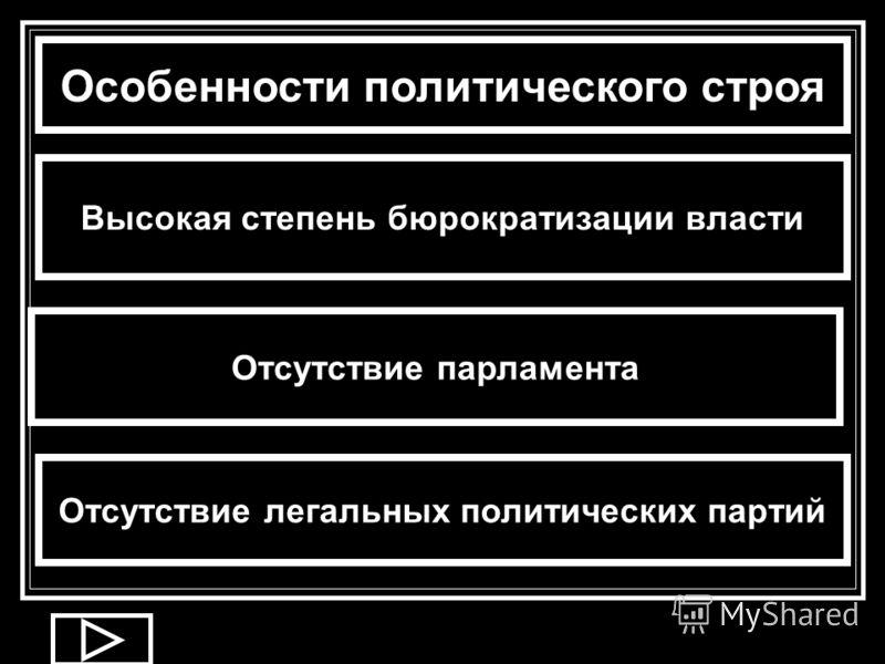 Особенности политического строя Высокая степень бюрократизации власти Отсутствие парламента Отсутствие легальных политических партий