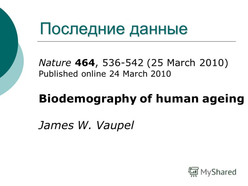 Последние данные Nature 464, 536-542 (25 March 2010) Published online 24 March 2010 Biodemography of human ageing James W. Vaupel