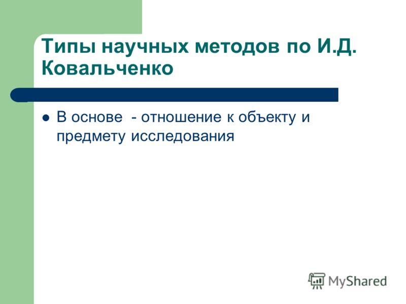 Типы научных методов по И.Д. Ковальченко В основе - отношение к объекту и предмету исследования