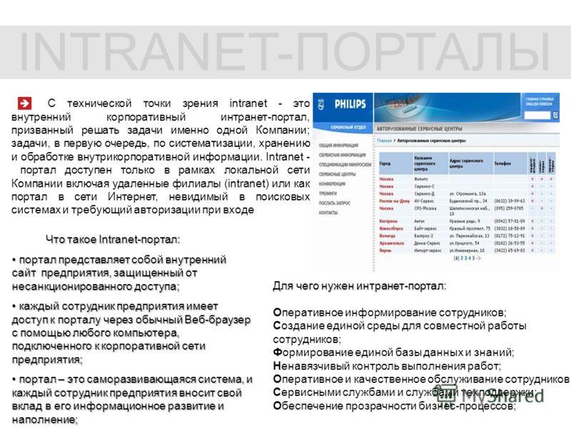 С технической точки зрения intranet - это внутренний корпоративный интранет-портал, призванный решать задачи именно одной Компании; задачи, в первую очередь, по систематизации, хранению и обработке внутрикорпоративной информации. Intranet - портал до