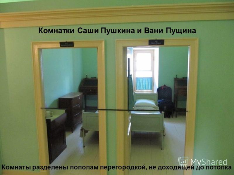 Комнатки Саши Пушкина и Вани Пущина Комнаты разделены пополам перегородкой, не доходящей до потолка