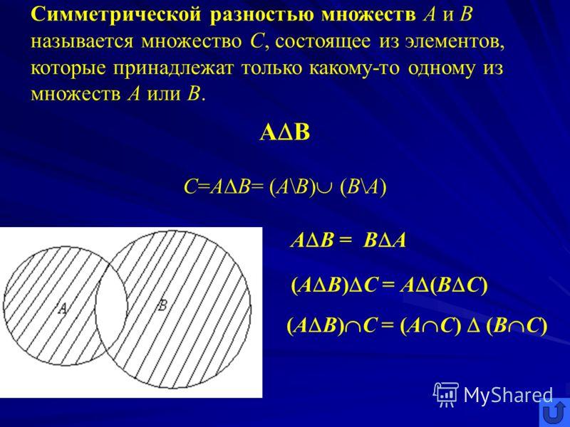 Разностью множеств А и В называется множество С, состоящее из элементов, которые принадлежат множеству А, но не входят в множество В. А\В С=А\В={c c A и с В}