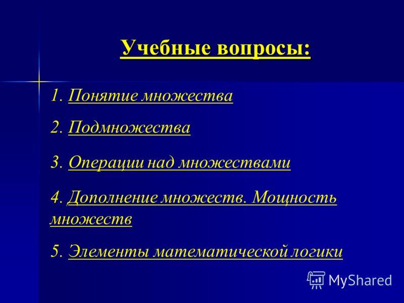 Изучить : элементы математической логики. основные понятия теории множеств; Цели лекции операции над множествами; понятие подмножества;