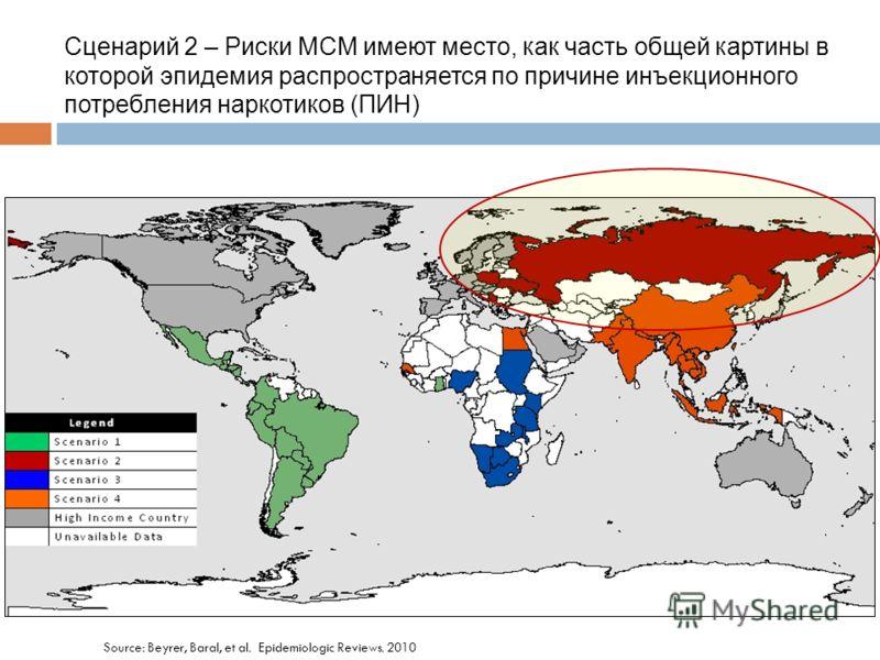 Source: Beyrer, Baral, et al. Epidemiologic Reviews. 2010 Сценарий 2 – Риски МСМ имеют место, как часть общей картины в которой эпидемия распространяется по причине инъекционного потребления наркотиков (ПИН)