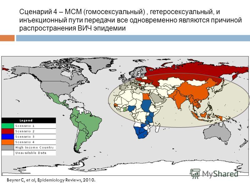 Beyrer C, et al, Epidemiology Reviews, 2010. Сценарий 4 – МСМ (гомосексуальный), гетеросексуальный, и инъекционный пути передачи все одновременно являются причиной распространения ВИЧ эпидемии