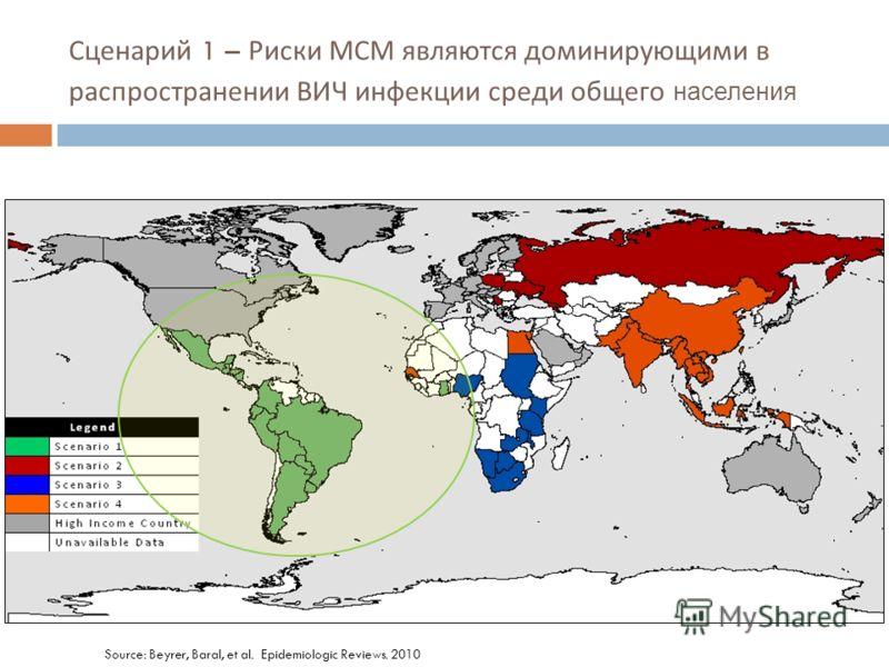 Source: Beyrer, Baral, et al. Epidemiologic Reviews. 2010 Сценарий 1 – Риски МСМ являются доминирующими в распространении ВИЧ инфекции среди общего населения