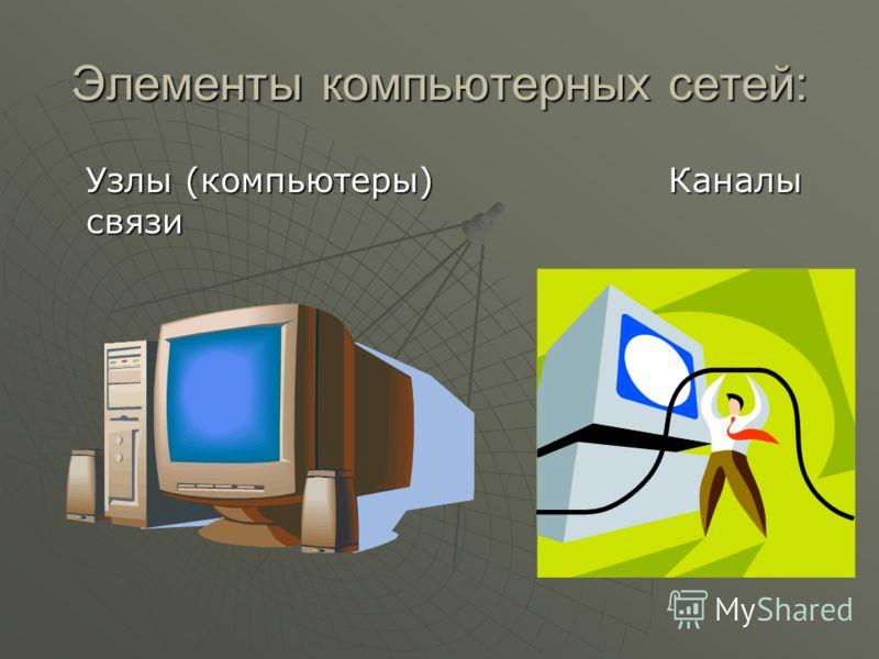 Элементы компьютерных сетей: Узлы (компьютеры)Каналы связи