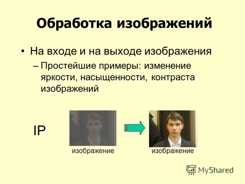 Обработка изображений На входе и на выходе изображения –Простейшие примеры: изменение яркости, насыщенности, контраста изображений IP изображение