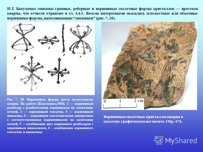 И.Т. Бакуменко описаны гранные, реберные и вершинные скелетные формы кристаллов вростков кварца, что отчасти отражено в гл. 4.4.1. Весьма интересными оказались плоскостные или объемные вершинные формы, напоминающие снежинки (рис. 7. 28). Рис 7. 28. В