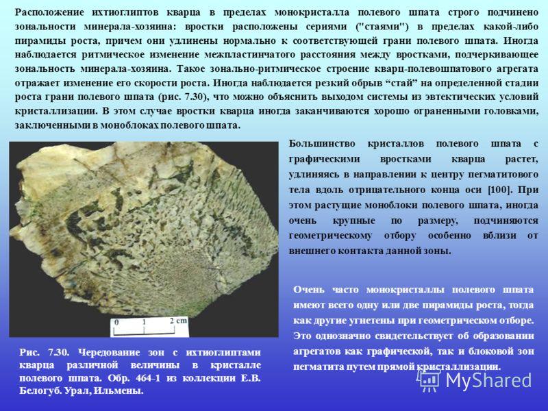 Расположение ихтиоглиптов кварца в пределах монокристалла полевого шпата строго подчинено зональности минерала-хозяина: вростки расположены сериями (