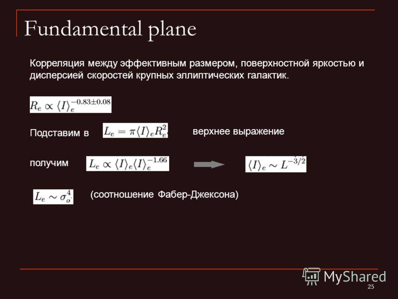 25 Fundamental plane Корреляция между эффективным размером, поверхностной яркостью и дисперсией скоростей крупных эллиптических галактик. (соотношение Фабер-Джексона) Подставим в верхнее выражение получим