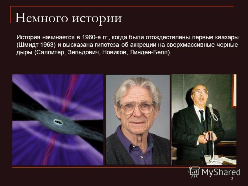 3 Немного истории История начинается в 1960-е гг., когда были отождествлены первые квазары (Шмидт 1963) и высказана гипотеза об аккреции на сверхмассивные черные дыры (Салпитер, Зельдович, Новиков, Линден-Белл).