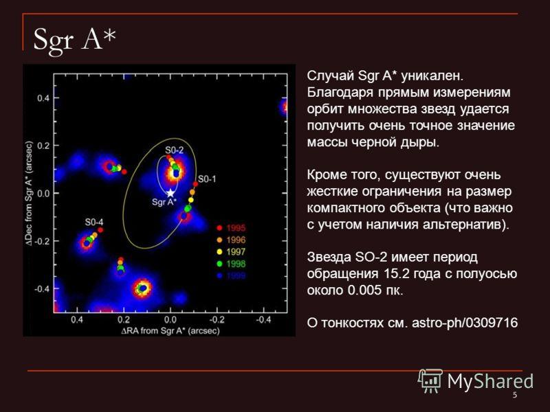 5 Sgr A* Случай Sgr A* уникален. Благодаря прямым измерениям орбит множества звезд удается получить очень точное значение массы черной дыры. Кроме того, существуют очень жесткие ограничения на размер компактного объекта (что важно с учетом наличия ал