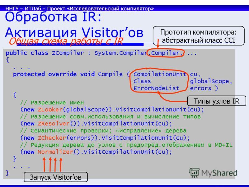 ННГУ – ИТЛаб – Проект «Исследовательский компилятор» 33 Обработка IR: Активация Visitorов public class ZCompiler : System.Compiler.Compiler,... {... protected override void Compile ( CompilationUnit cu, Class globalScope, ErrorNodeList errors ) { //