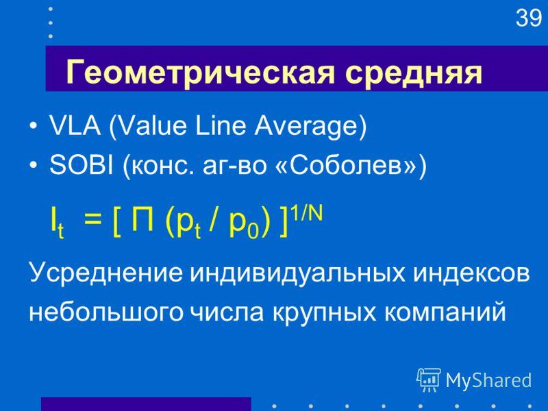 39 Геометрическая средняя VLA (Value Line Average) SOBI (конс. аг-во «Соболев») I t = [ П (p t / p 0 ) ] 1/N Усреднение индивидуальных индексов небольшого числа крупных компаний