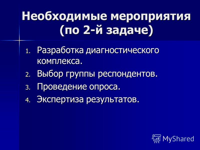 Необходимые мероприятия (по 2-й задаче) 1. Разработка диагностического комплекса. 2. Выбор группы респондентов. 3. Проведение опроса. 4. Экспертиза результатов.