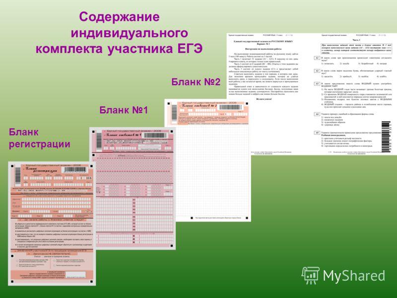 3 Содержание индивидуального комплекта участника ЕГЭ Бланк регистрации Бланк 1 Бланк 2
