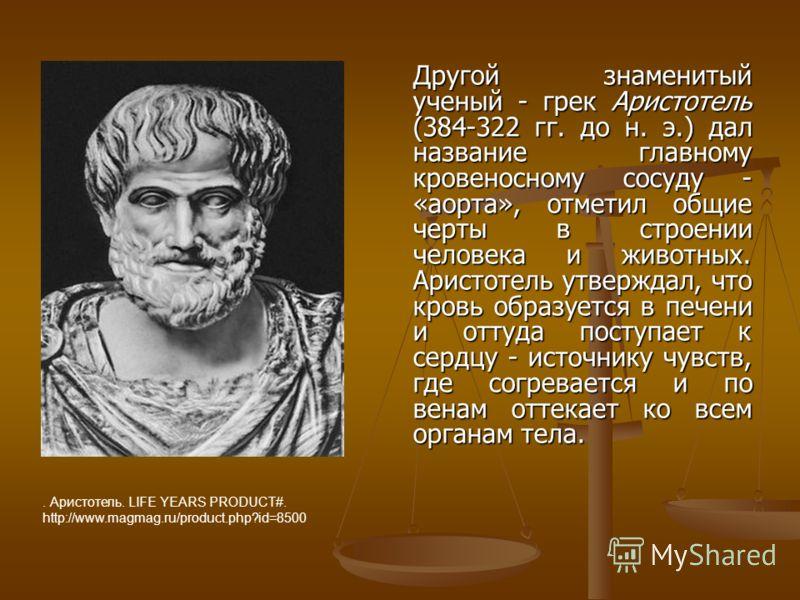 Другой знаменитый ученый - грек Аристотель (384-322 гг. до н. э.) дал название главному кровеносному сосуду - «аорта», отметил общие черты в строении человека и животных. Аристотель утверждал, что кровь образуется в печени и оттуда поступает к сердцу