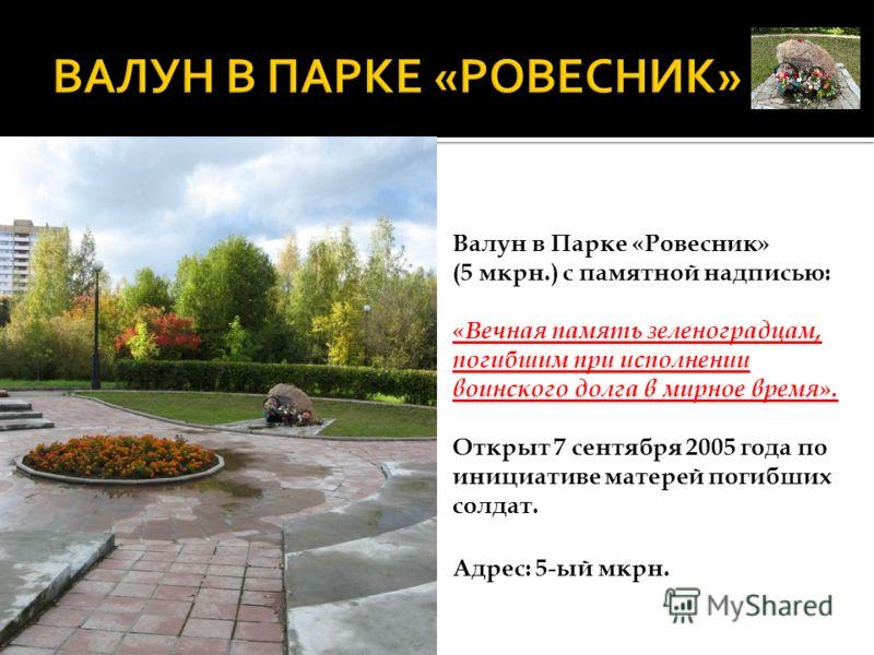 Валун в Парке «Ровесник» (5 мкрн.) с памятной надписью: «Вечная память зеленоградцам, погибшим при исполнении воинского долга в мирное время». Открыт 7 сентября 2005 года по инициативе матерей погибших солдат. Адрес: 5-ый мкрн.