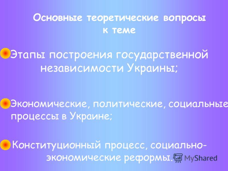 Основные теоретические вопросы к теме Этапы построения государственной независимости Украины; Экономические, политические, социальные процессы в Украине; Конституционный процесс, социально- экономические реформы.