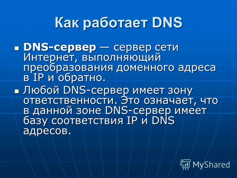Как работает DNS DNS-сервер сервер сети Интернет, выполняющий преобразования доменного адреса в IP и обратно. DNS-сервер сервер сети Интернет, выполняющий преобразования доменного адреса в IP и обратно. Любой DNS-сервер имеет зону ответственности. Эт