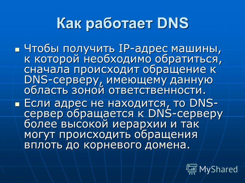Как работает DNS Чтобы получить IP-адрес машины, к которой необходимо обратиться, сначала происходит обращение к DNS-серверу, имеющему данную область зоной ответственности. Чтобы получить IP-адрес машины, к которой необходимо обратиться, сначала прои