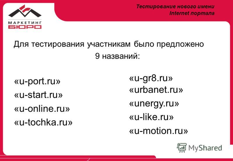 Для тестирования участникам было предложено 9 названий: «u-port.ru» «u-start.ru» «u-online.ru» «u-tochka.ru» «u-gr8.ru» «urbanet.ru» «unergy.ru» «u-like.ru» «u-motion.ru» Тестирование нового имени Internet портала