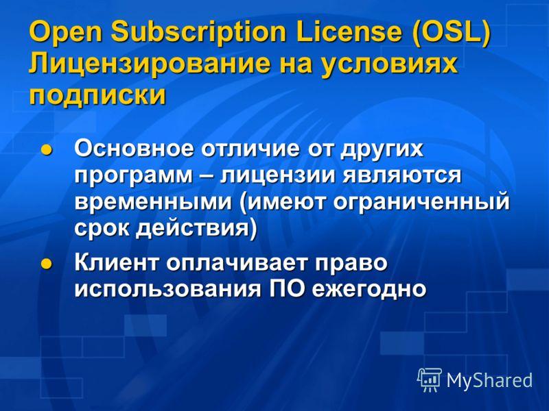 Open Subscription License (OSL) Лицензирование на условиях подписки Основное отличие от других программ – лицензии являются временными (имеют ограниченный срок действия) Основное отличие от других программ – лицензии являются временными (имеют ограни