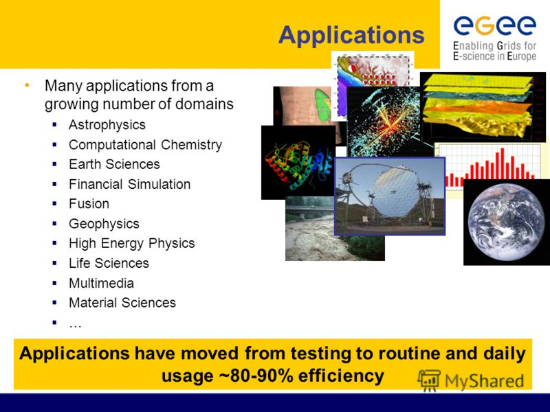 Applications Many applications from a growing number of domains Astrophysics Computational Chemistry Earth Sciences Financial Simulation Fusion Geophysics High Energy Physics Life Sciences Multimedia Material Sciences … Applications have moved from t