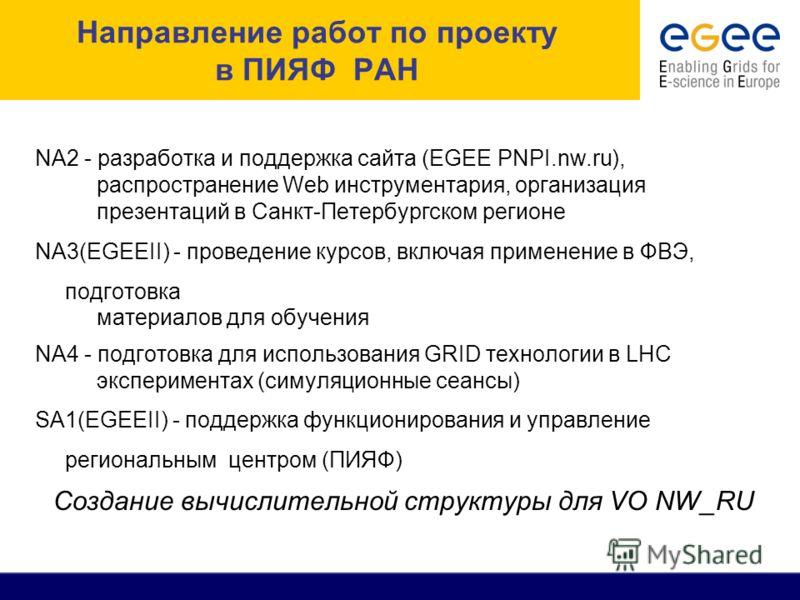 Направление работ по проекту в ПИЯФ РАН NA2 - разработка и поддержка сайта (EGEE PNPI.nw.ru), распространение Web инструментария, организация презентаций в Санкт-Петербургском регионе NA3(EGEEII) - проведение курсов, включая применение в ФВЭ, подгото