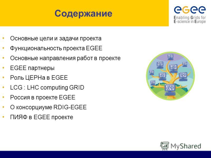 Содержание Основные цели и задачи проекта Функциональность проекта EGEE Основные направления работ в проекте EGEE партнеры Роль ЦЕРНа в EGEE LCG : LHC computing GRID Россия в проекте EGEE О консорциуме RDIG-EGEE ПИЯФ в EGEE проекте