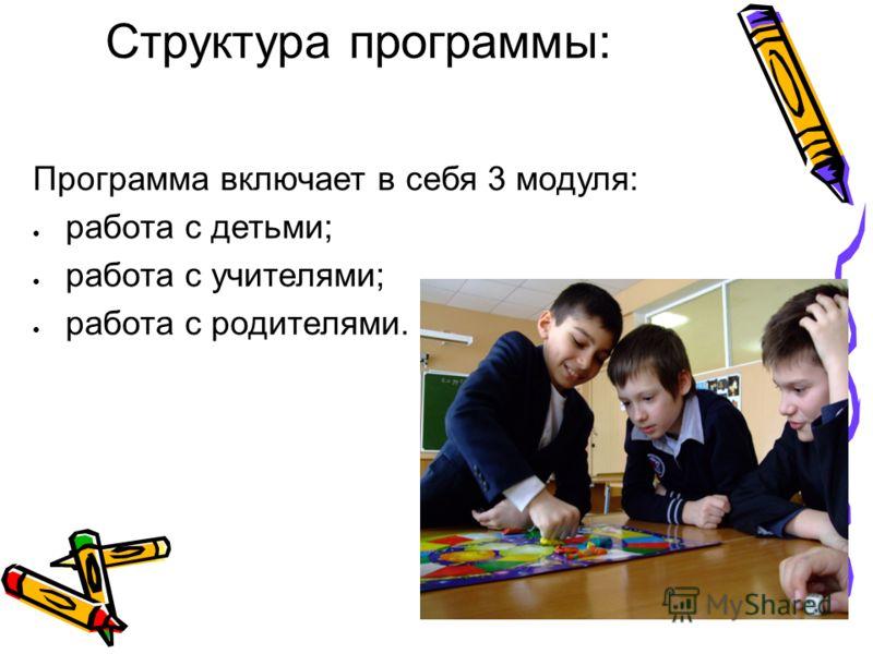 Структура программы: Программа включает в себя 3 модуля: работа с детьми; работа с учителями; работа с родителями.