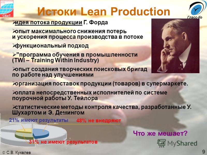 9 С.В. Кукалев Гласс-Ко Истоки Lean Production идея потока продукции Г. Форда опыт максимального снижения потерь и ускорения процесса производства в потоке функциональный подход