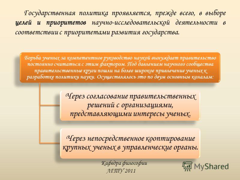 Кафедра философии ЛГТУ 2011 Государственная политика проявляется, прежде всего, в выборе целей и приоритетов научно-исследовательской деятельности в соответствии с приоритетами развития государства. Борьба ученых за компетентное руководство наукой вы