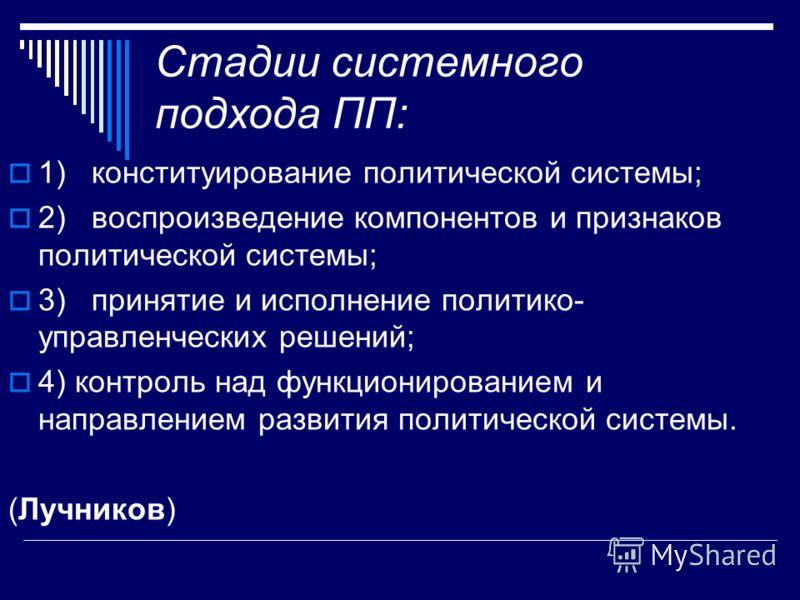 Стадии системного подхода ПП: 1) конституирование политической системы; 2) воспроизведение компонентов и признаков политической системы; 3) принятие и исполнение политико- управленческих решений; 4) контроль над функционированием и направлением разви