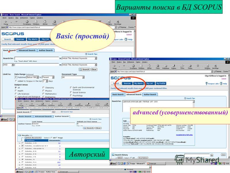Варианты поиска в БД SCOPUS Basic (простой) Авторский advanced (усовершенствованный)
