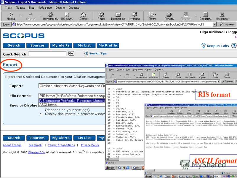 RIS format ASCII format