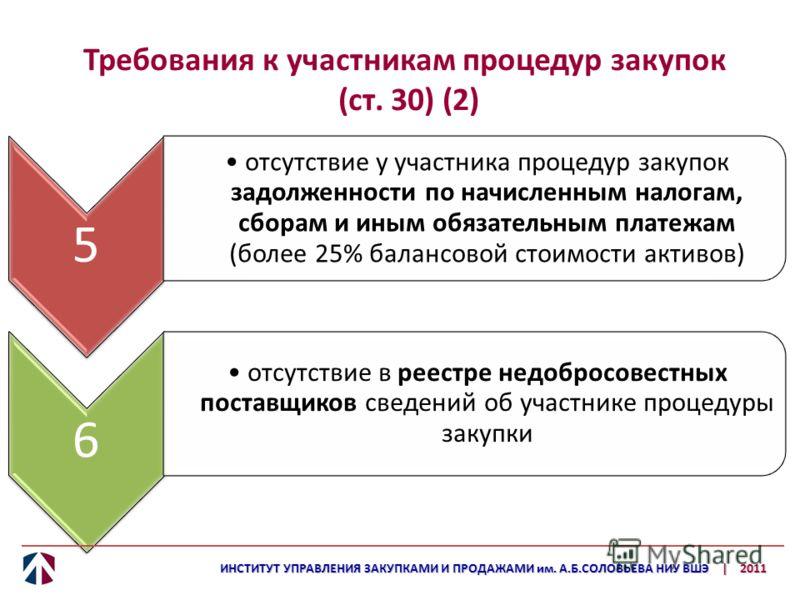 Требования к участникам процедур закупок (ст. 30) (2) 5 отсутствие у участника процедур закупок задолженности по начисленным налогам, сборам и иным обязательным платежам (более 25% балансовой стоимости активов) 6 отсутствие в реестре недобросовестных