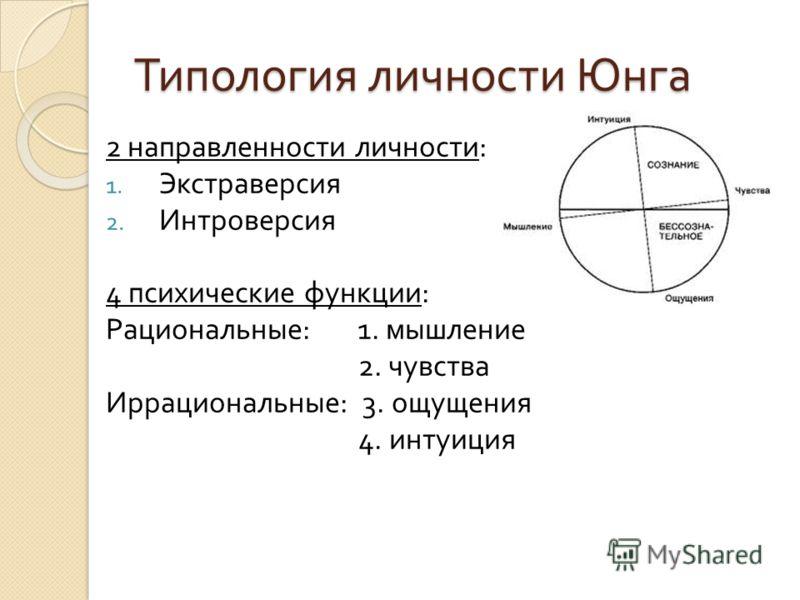 Типология личности Юнга 2 направленности личности : 1. Экстраверсия 2. Интроверсия 4 психические функции : Рациональные : 1. мышление 2. чувства Иррациональные : 3. ощущения 4. интуиция