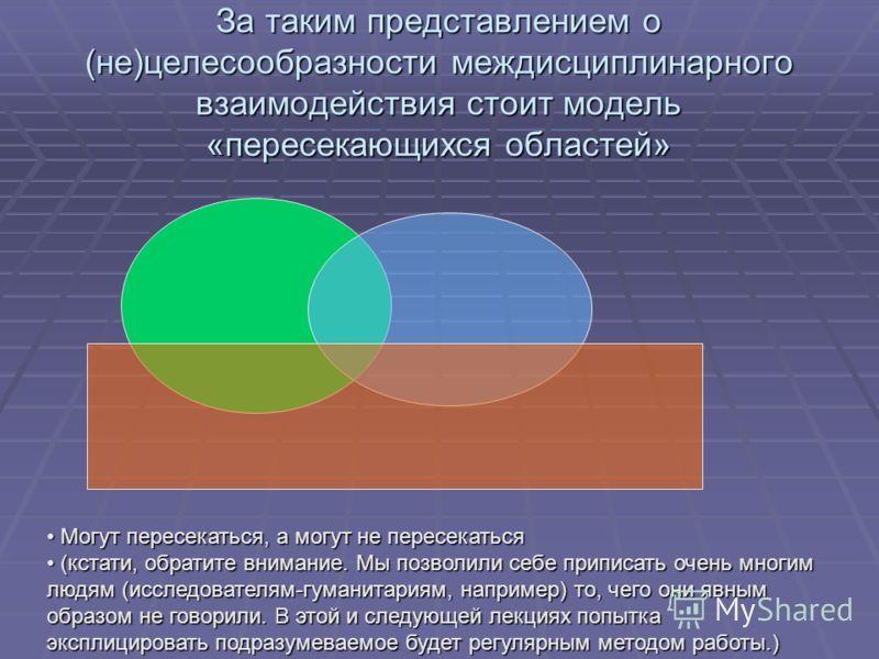За таким представлением о (не)целесообразности междисциплинарного взаимодействия стоит модель «пересекающихся областей» Могут пересекаться, а могут не пересекаться Могут пересекаться, а могут не пересекаться (кстати, обратите внимание. Мы позволили с