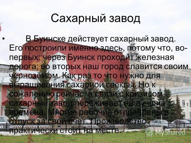 Сахарный завод В Буинске действует сахарный завод. Его построили именно здесь, потому что, во- первых: через Буинск проходит железная дорога; во вторых наш город славится своим чернозёмом. Как раз то что нужно для выращивания сахарной свеклы. Но к со