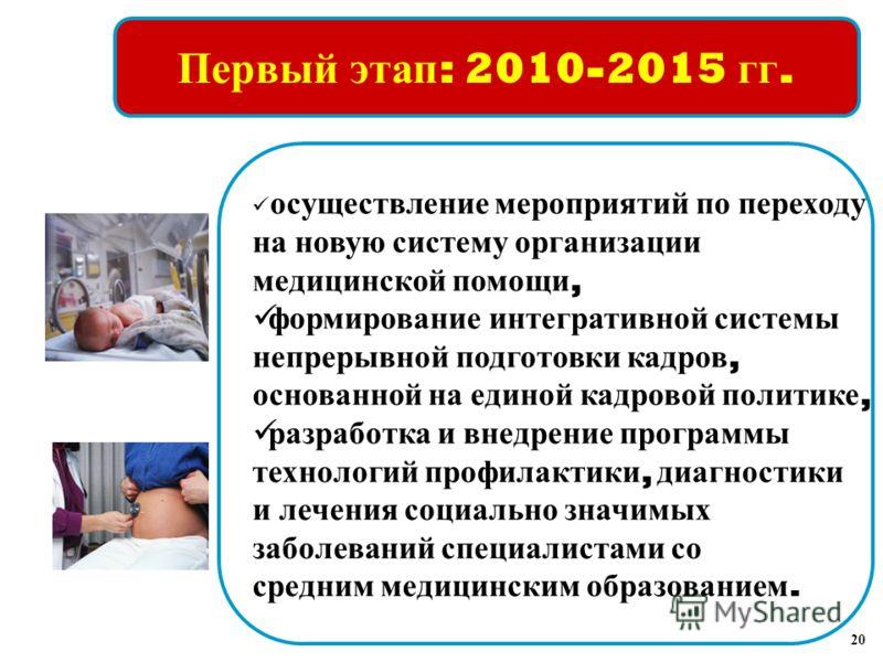 Первый этап : 2010-2015 гг. осуществление мероприятий по переходу на новую систему организации медицинской помощи, формирование интегративной системы непрерывной подготовки кадров, основанной на единой кадровой политике, разработка и внедрение програ