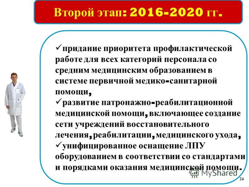Второй этап : 2016-2020 гг. придание приоритета профилактической работе для всех категорий персонала со средним медицинским образованием в системе первичной медико - санитарной помощи, развитие патронажно - реабилитационной медицинской помощи, включа
