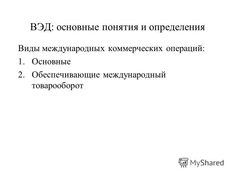ВЭД: основные понятия и определения Виды международных коммерческих операций: 1.Основные 2.Обеспечивающие международный товарооборот