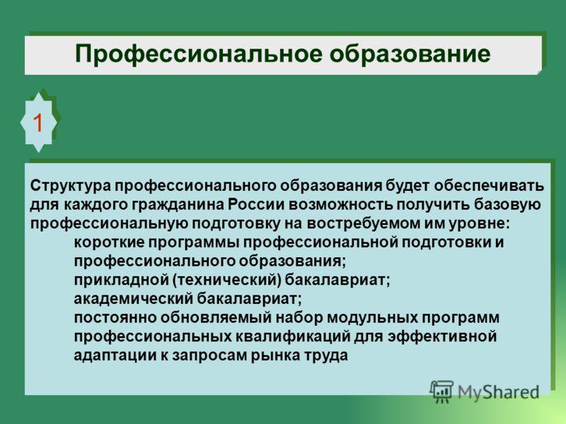 Профессиональное образование 1 1 Структура профессионального образования будет обеспечивать для каждого гражданина России возможность получить базовую профессиональную подготовку на востребуемом им уровне: короткие программы профессиональной подготов