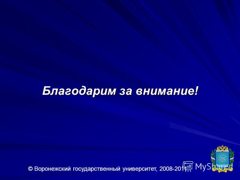 Благодарим за внимание! © Воронежский государственный университет, 2008-2011