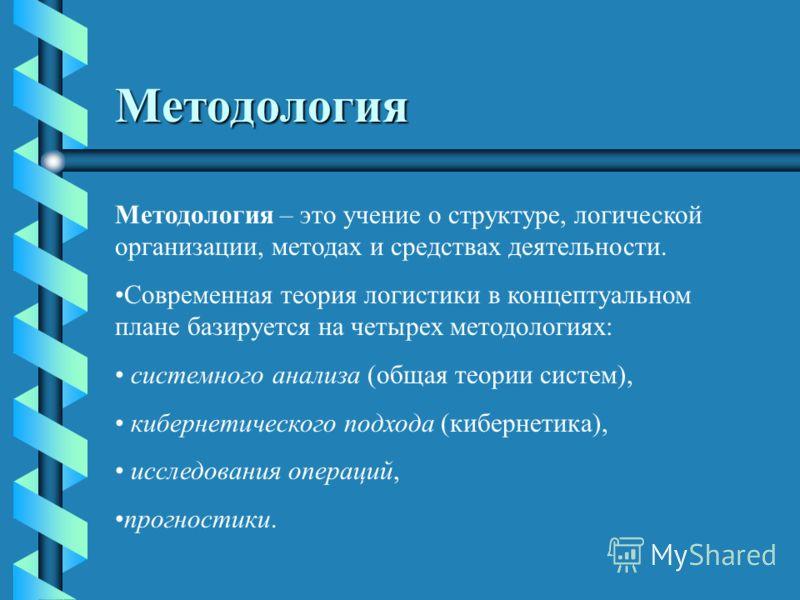 Методология Методология – это учение о структуре, логической организации, методах и средствах деятельности. Современная теория логистики в концептуальном плане базируется на четырех методологиях: системного анализа (общая теории систем), кибернетичес