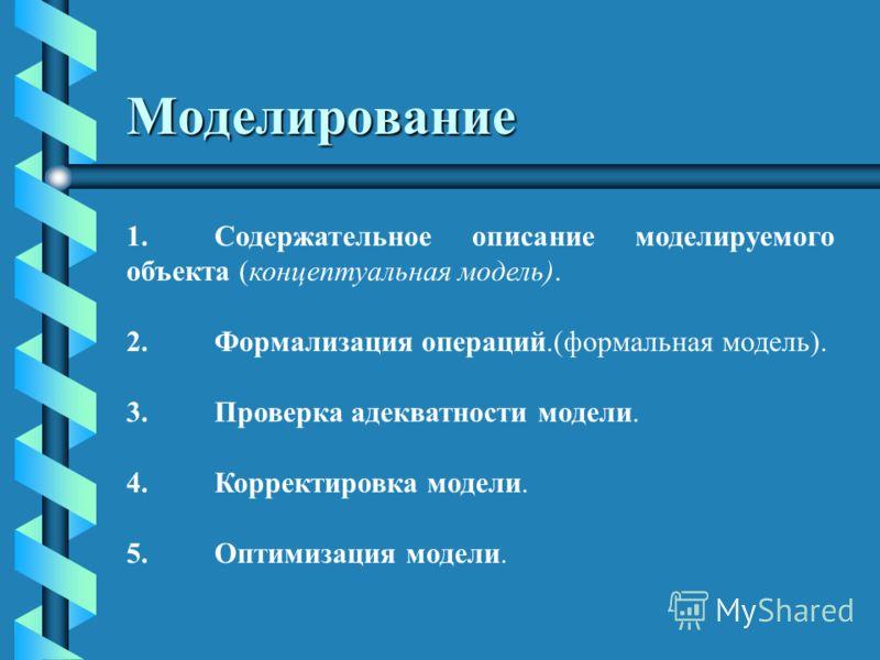 Моделирование 1.Содержательное описание моделируемого объекта (концептуальная модель). 2.Формализация операций.(формальная модель). 3.Проверка адекватности модели. 4.Корректировка модели. 5.Оптимизация модели.