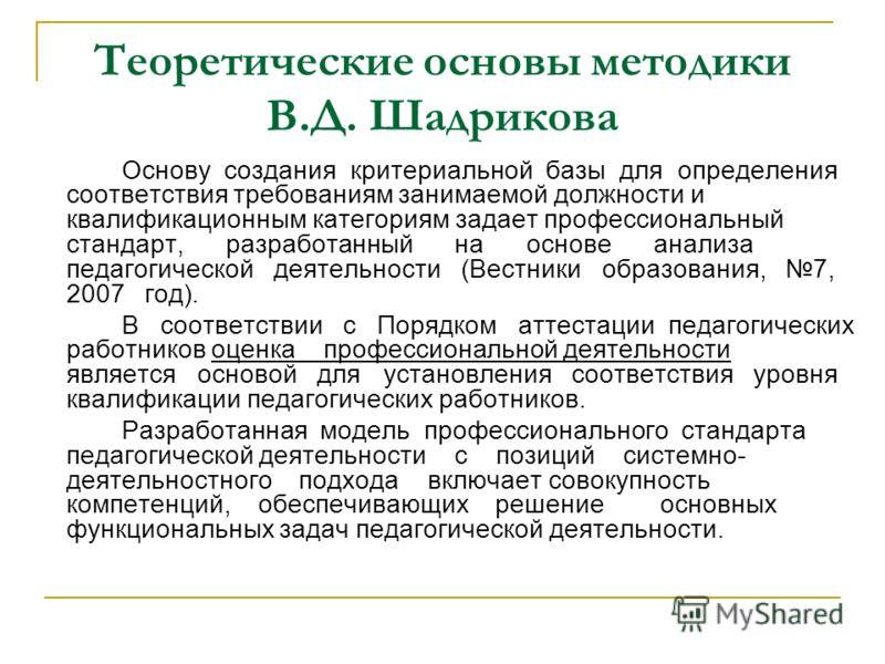 Теоретические основы методики В.Д. Шадрикова Основу создания критериальной базы для определения соответствия требованиям занимаемой должности и квалификационным категориям задает профессиональный стандарт, разработанный на основе анализа педагогическ