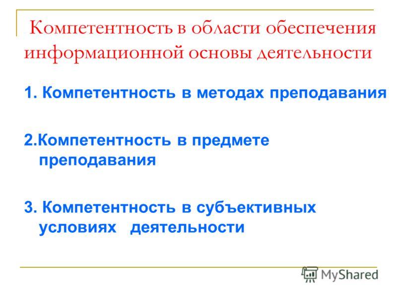 Компетентность в области обеспечения информационной основы деятельности 1. Компетентность в методах преподавания 2.Компетентность в предмете преподавания 3. Компетентность в субъективных условиях деятельности